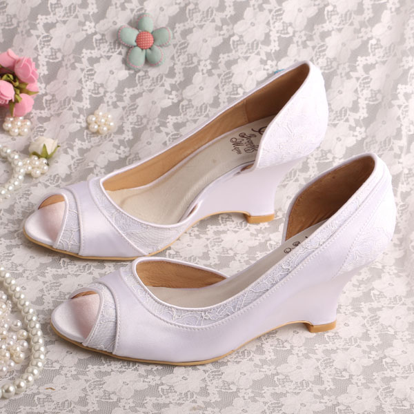 7c604b7891c9 Wedopus Custom Handmade Heeled Wedges Open Toe Shoes Bridal Wedding Beige  Satin and Lace-in Women s Pumps from Shoes on Aliexpress.com