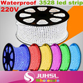 Waterproof ip65 SMD 3528 220V 5m led strip in RGB/white/warm white/green/yellow/blue/red+Power plug+Fixed clip light bar Lamp