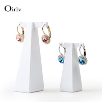Oirlv Free Shipping White Color Lacquered Resin T Bar Shape Ear Stud Holder Jewelry Display Stand