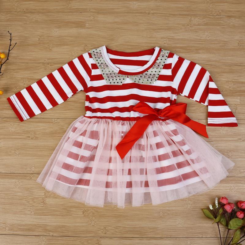 b352a32e6fee67 Pasgeboren Baby Baby Pailletten Callor Prinses Meisje Jurken Rood  Gestreepte Gaas Taart Tutu Jurk Lange Mouw Layer Tulle Kids Kleding in  Pasgeboren Baby ...