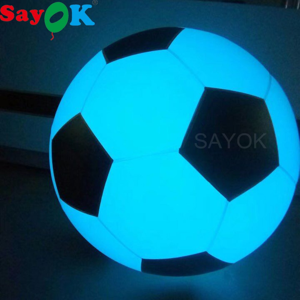 Large Inflatable Soccer Throwing Balloon Light Touching Color Changing LED Glowing Football Zygote Ball PVC Funny