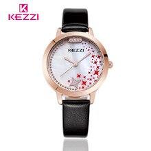 K-1272 KEZZI Marca Moda Estrela de Couro Das Mulheres Senhoras Relógio de Pulso de Luxo Relógio de Quartzo Relogio feminino Presente KZ28