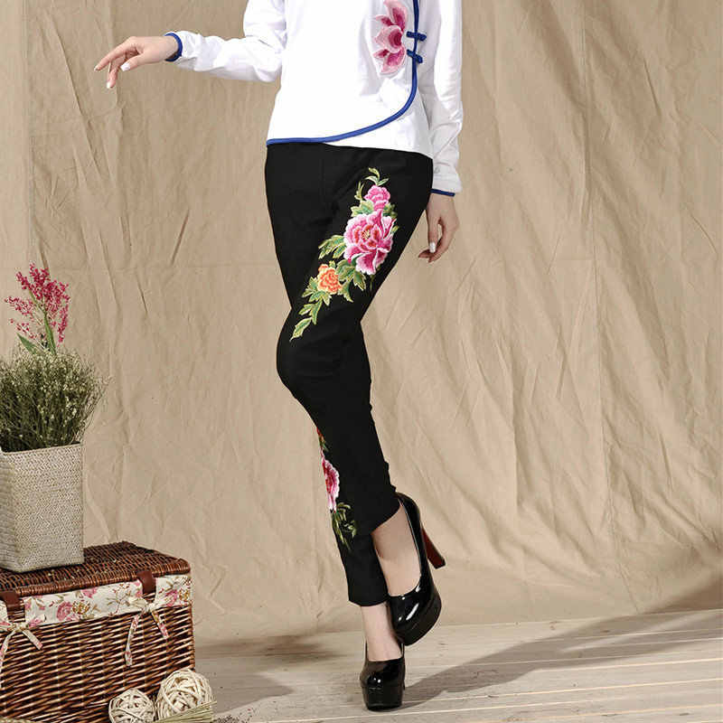 Fashion Women Black And White Vintage Embroidery Flowers Casual Long Pant Spring Autumn New Elastic Waist Trousers