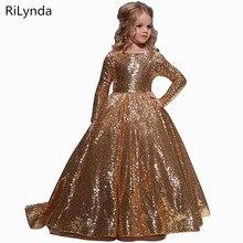 Платья золотого цвета для девочек Бальные платья длиной до пола для детей, платье для дня рождения для девочек, нарядные платья с цветочным рисунком для девочек возрастом от 2 до 14 лет
