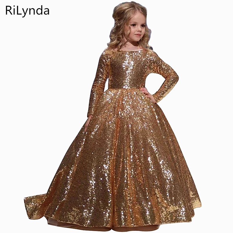 Gold Iittle   Girls     Dresses   Floor Iength Ball Gowns For Kids Birthday Party   Dress   For   Girls   Fancy   Flower     Girls     Dresses   2-14 years