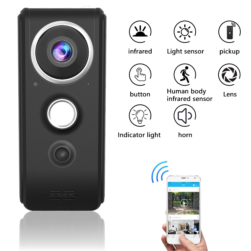 Timethinker Smart Home Wireless WiFi Video Doorbell Visual Record IP Ring Two-way Door Bell Remote Monitoring RF Security Cam smart wireless wifi security video intercom doorbell visual recording consumption remote home doorbell video door bell ring cam