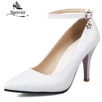 SGESVIER Women Pumps 2017 Autumn New Elegant Sexy Dress Plus Size 34 51 Pointed Head Thin High Heels Lady Shoes woman OX080
