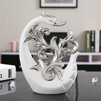 European Electroplating Ceramic Swan Figurine Animal Ornaments tabletop Miniature Crafts Home Office Decor Wedding gift