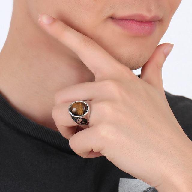 Vintage Degli Uomini Del Ragazzo Ovale Occhio di Tigre Marrone Pietre con Yin Yang Symbol Anello in Acciaio Gioielli In Acciaio Mens Accessori Anel aneis