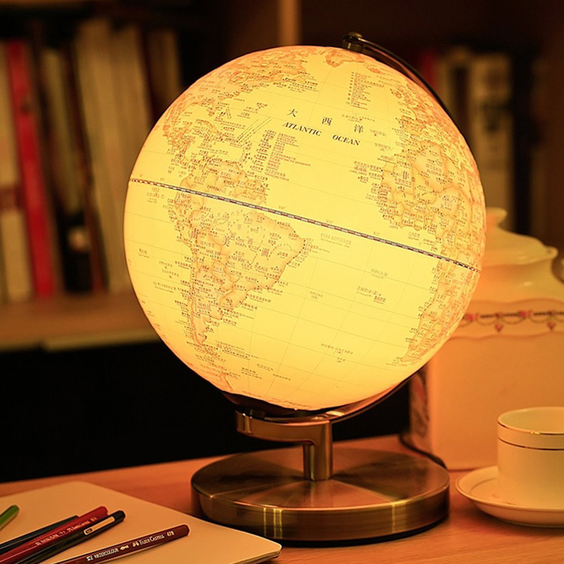 25cm Antique 3D Relief Earth Globe Table Lamp Student Kids Geography Gifts  Study Office Desk Decor World Map Light Kids Lamps In Table Lamps From  Lights ...
