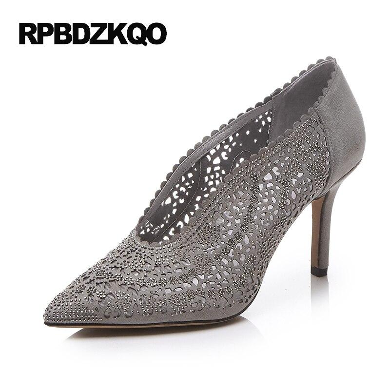 Europeo Vendimia Cristal Dedo Punteado Delgado 2017 Zapatillas Mujeres Zapatos De Cuero Gris Tacones Altos Talla Pequeña Plata