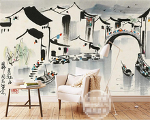 Beibehang Photo mural wallpaper Ink Painting Jiangnan Water Town Hand-painted Oil papel de parede 3d tapety