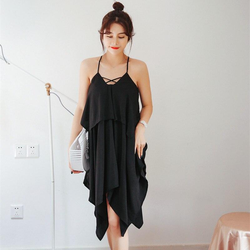 Sexy Women Chiffon Beach Dress Lady Nightgowns Short Sleepshirts Chemises Sleepwear Nightdress Spaghetti Strap Slip Dress Casca