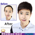 Handsome Men's Human real Hair Wigs Middle Adult Men hair replacement systems wig Brazilian Remy Straight Short Hairpiece Wig