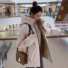 Женская модная парка с капюшоном зимняя стеганая куртка пальто Женская стильная куртка средней длины с карманами и капюшоном теплое пальто Chamarras De Mujer