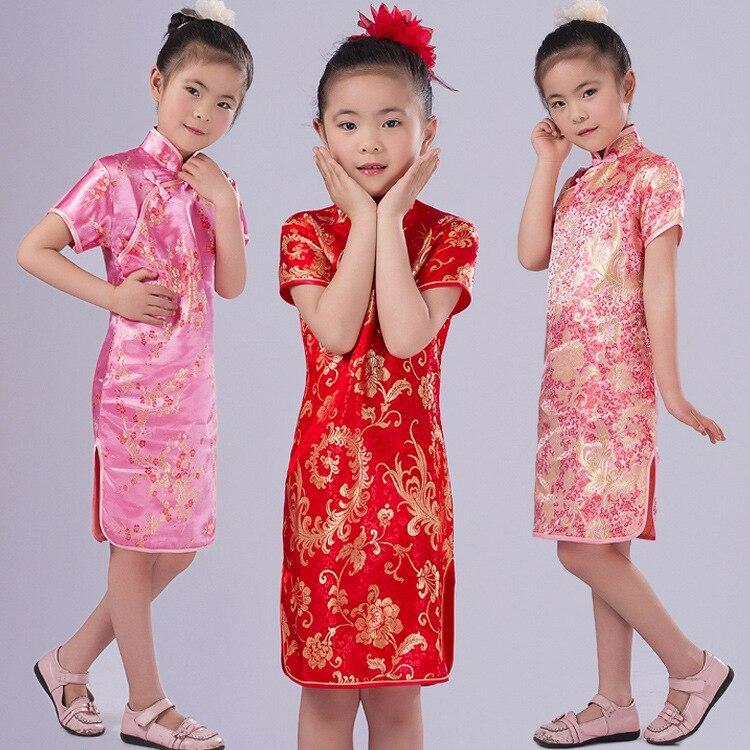 شيونغسام تشيباو الصينية نمط الزهور فتاة فساتين الصيف طفل هدية السنة الجديدة ملابس الأطفال