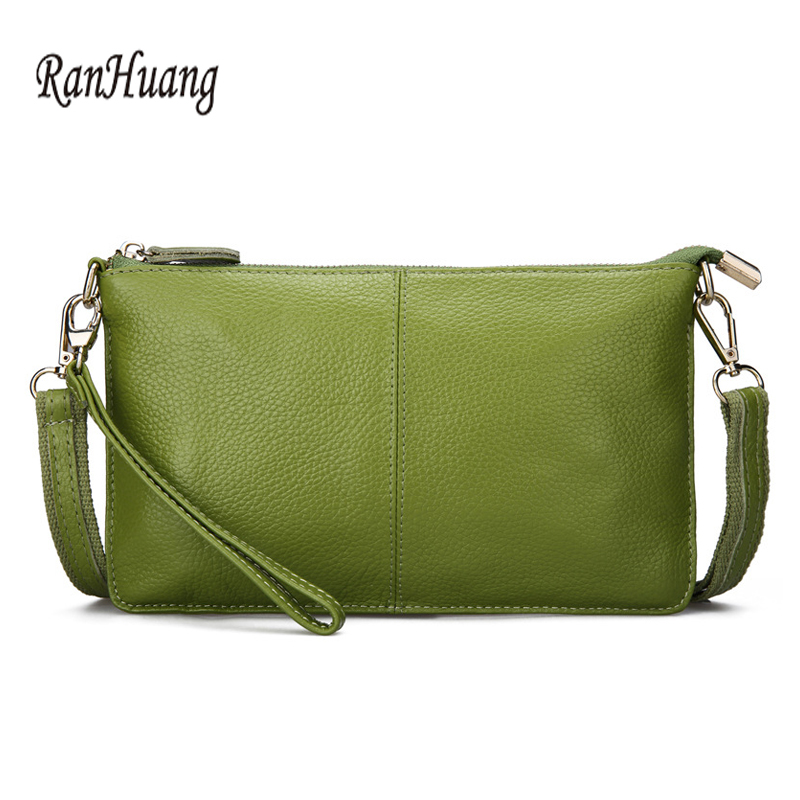 RanHuang Women Genuine Leather Day Clutches Candy Color Bags Women's Fashion Crossbody Bags Small Clutch Bags(China)