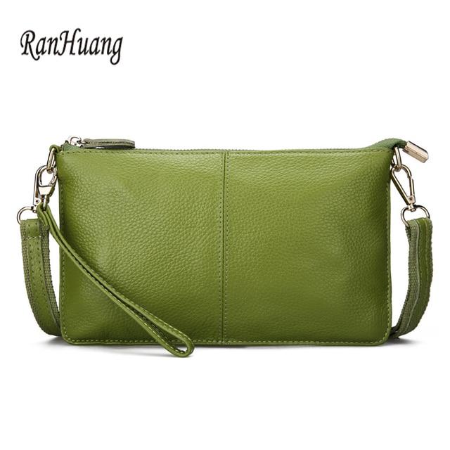 RanHuang женские клатчи из натуральной кожи, яркие цвета, модные крошечные сумочки через плечо, клатчи