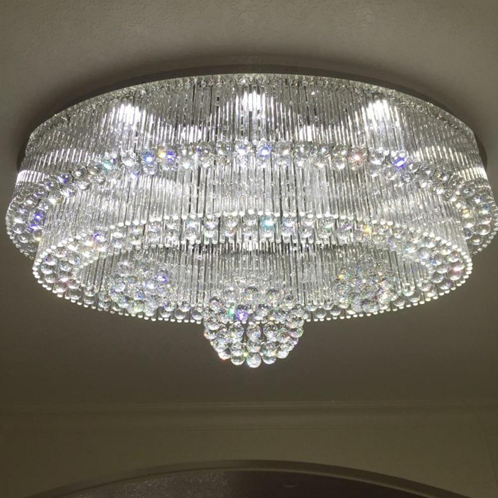 Oval Design Large Crystal Chandeliers Ceiling Led Light Ac110v 220v Lustre Dinning Room Living