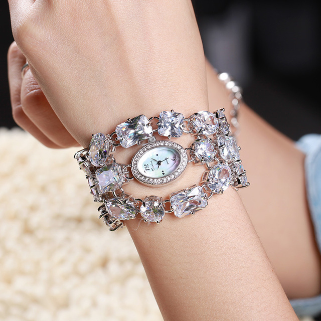 Luxury Jewelry Lady Women's Watch Full Rhinestone Large Crystal Fashion Hours Dress Bracelet Bling Birthday Love Girl Gift Box