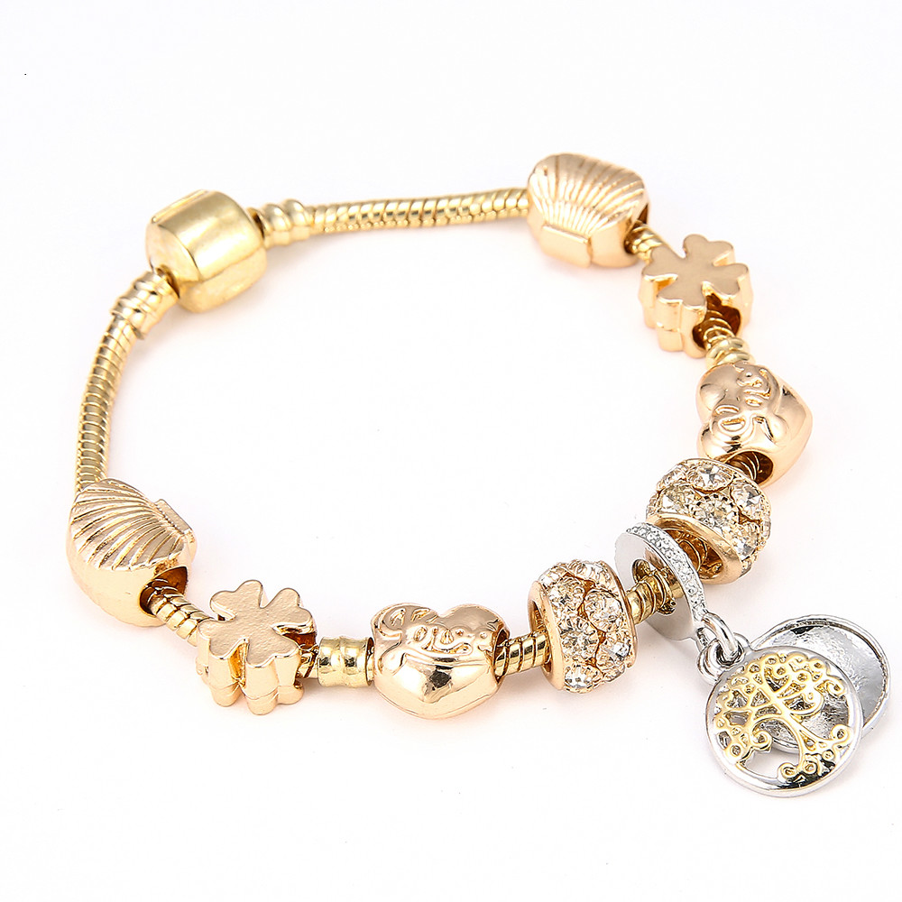 Gold Color Pandora Charm Bracelet & Bangle Tree
