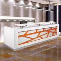 Bar floor winkel modieuze cool rechte lak receptie tafel teller meubels-in Receptie van Meubilair op