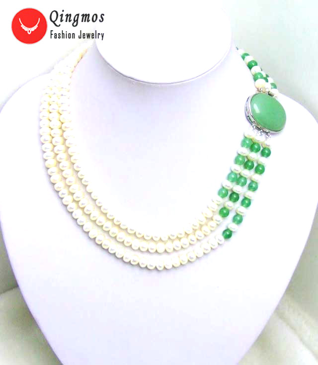 Qingmos Natural Pearl Neckalce for Women with Green Jades & 6mm Flat Round 3 Strands Pearl Chokers Necklace Jewelry 17 nec5196