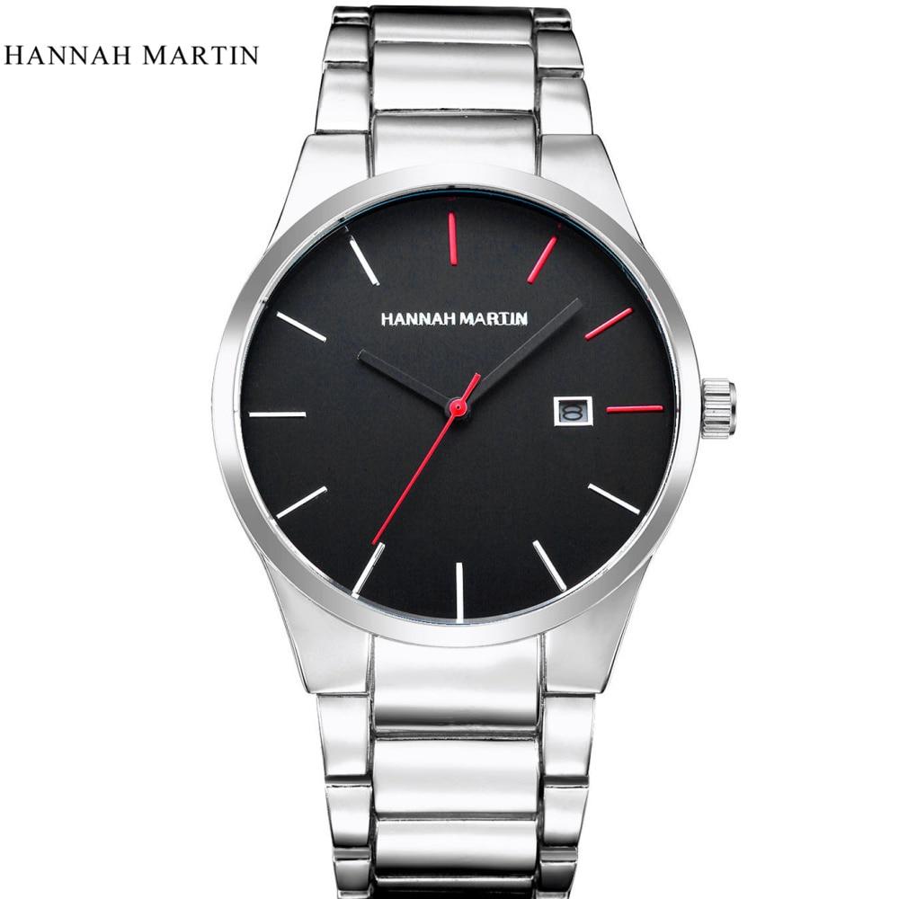 Hannah Martin Watches Men Luxury Brand Business Sports Casual Silver Watch Date Day Quartz Wrist Watches 30ATM relogio masculino