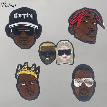 Pulaqi Black Hip hop Lebron James Patch DIY Embroidery Iron On Punk Patches For Clothes Music Band Patch For Clothing Music Band image