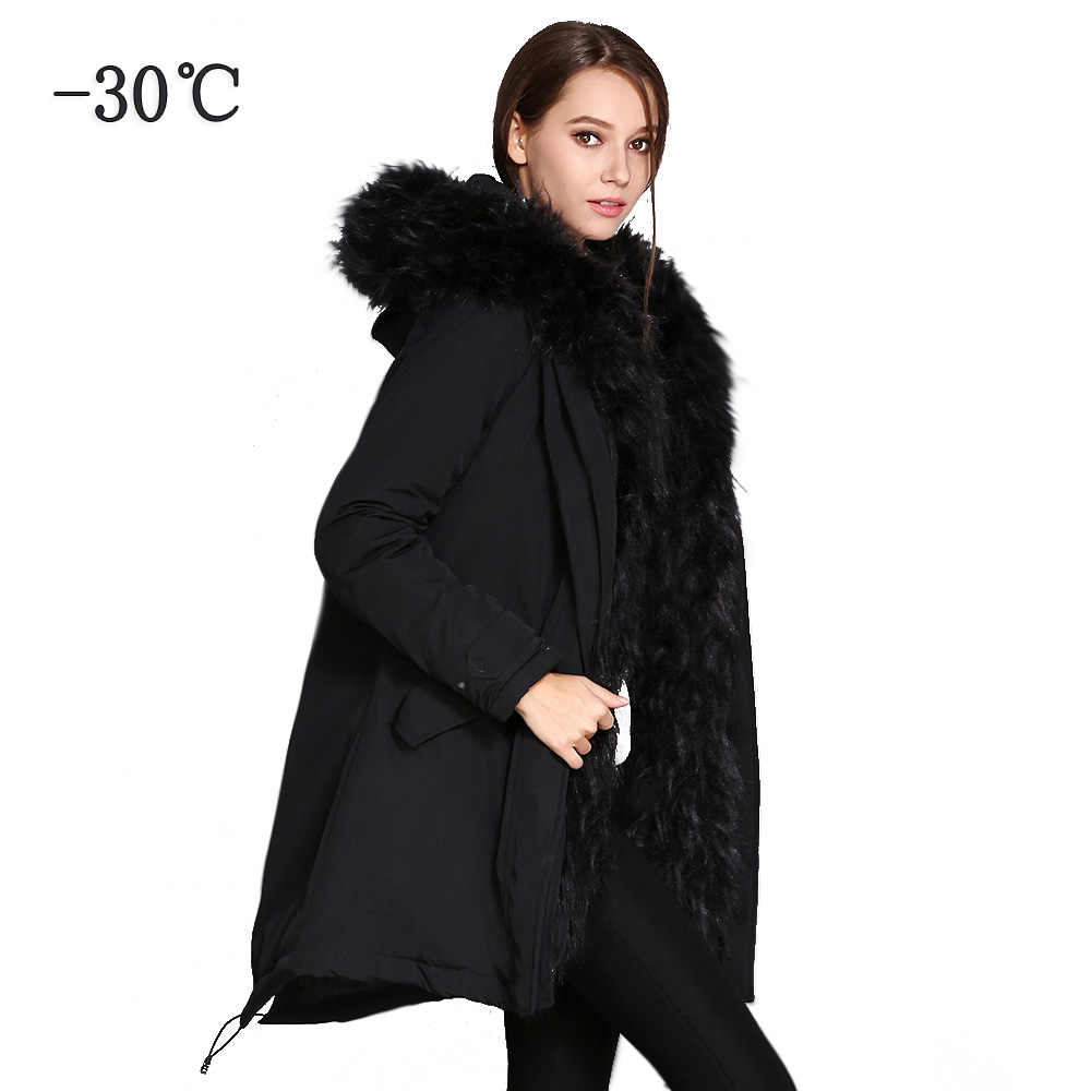 fc1bdb0a COUTUDI Ukraine Women's Parkas Faux Fur Coat Female Winter Long Jacket with  a Hood Women Clothing