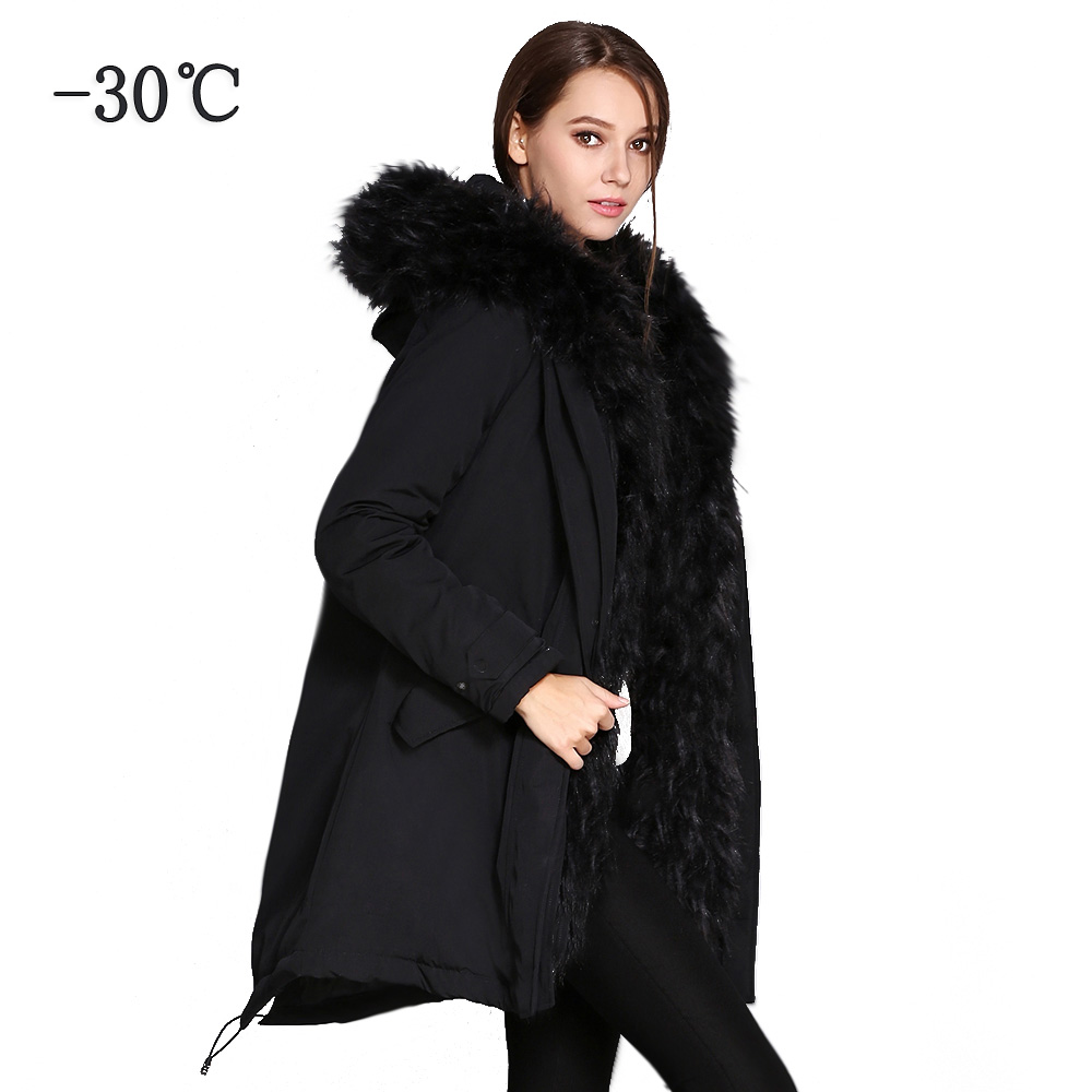 COUTUDI Ukraine Women's   Parkas   Faux Fur Coat Female Winter Long Jacket with a Hood Women Clothing Thick Warm Outwear Overcoats