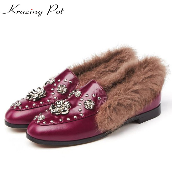 Krazing Pot cow leather rabbit fur low heels shoes woman winter autumn high quality keep warm metal flowers decoration shoes L25 rabbit hair lady autumn winter new weaving small pineapple fur hat in winter to keep warm very nice and warm comfortable