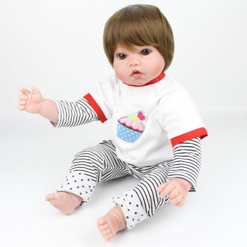 50cm boy dolls reborn soft Silicone Reborn Baby Dolls cloth body brown hair wig real newborn baby looking children gift dolls