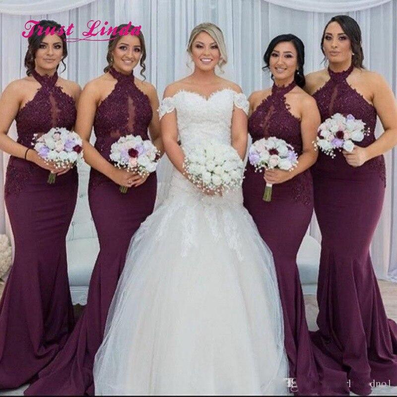 Halter Maid Of Honor Dresses For Weddings Appliques Floor Length Mermaid Burgundy Bridesmaid Dresses Brautjungfernkleid