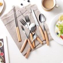 Unibird 1 шт. столовые приборы нержавеющая сталь Палочки для еды фрукты вилка суп кофе ложка стейк нож кухонная посуда с деревянной ручкой