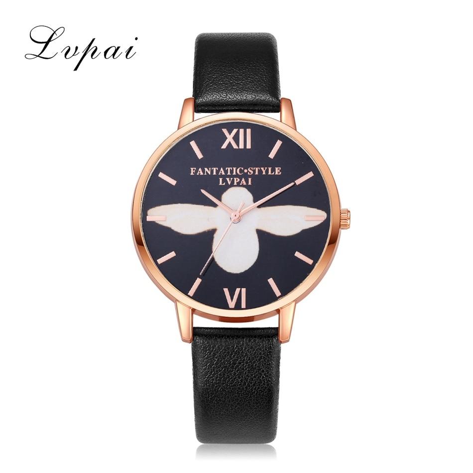 Lvpai Brand Fashion Leather Watches For Women Rose Gold Black Bee Dial Bracelet Quartz Wristwatch Ladiese Sport Clock Watch