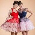 Женщины Сексуальная Горошек Холтер Рукавов Линии Короткие Buble Dress Vintage Style