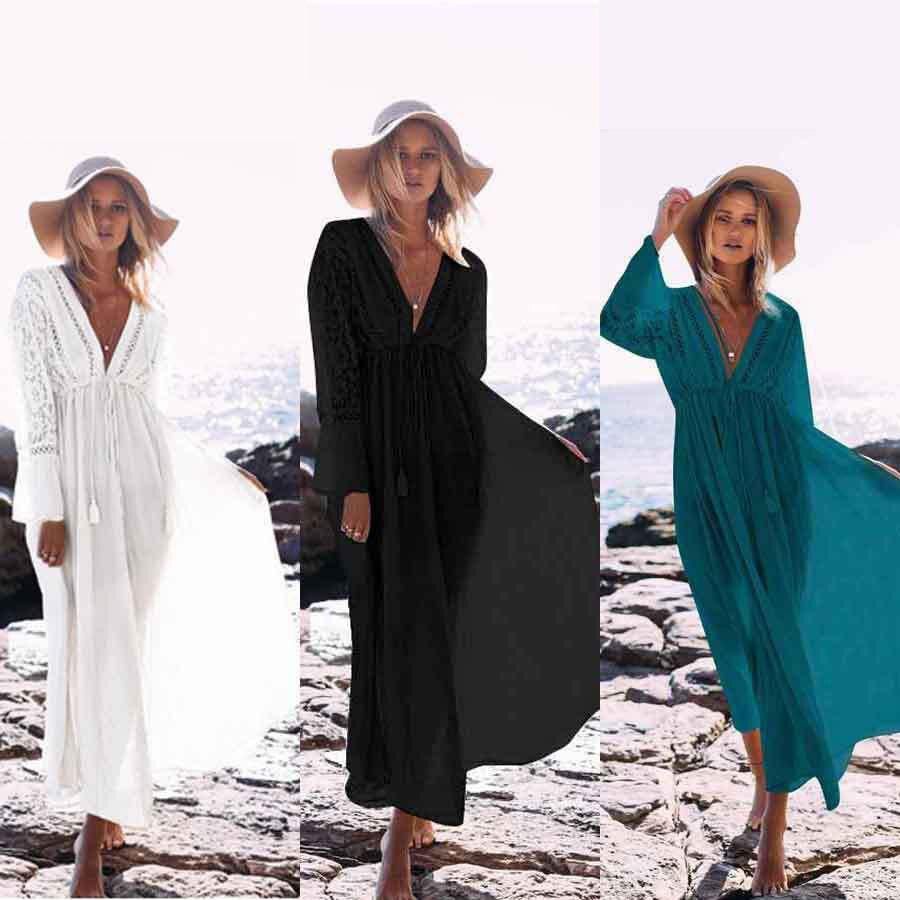 2019 Bikini Cover Up Dentelle Crochet Plage Maillot de Bain Cover Up Robe Tuniques pour la Plage Femmes Dames Robe