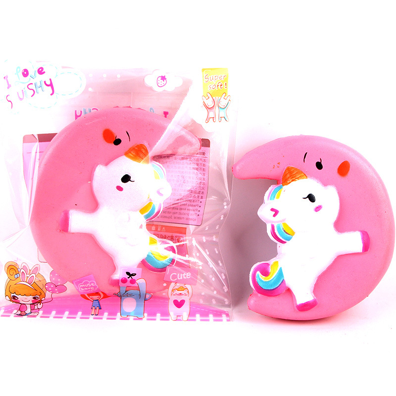Cute Squishy Moon Unicorn Scented Cream Slow Rising Squeeze Decompression Toys For Children Adults Relieves Stress Anxiety Decor