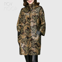Fashion printed black genuine leather trench coat drop shoulder real lambskin leather coat outwear plus size casacos LT1873