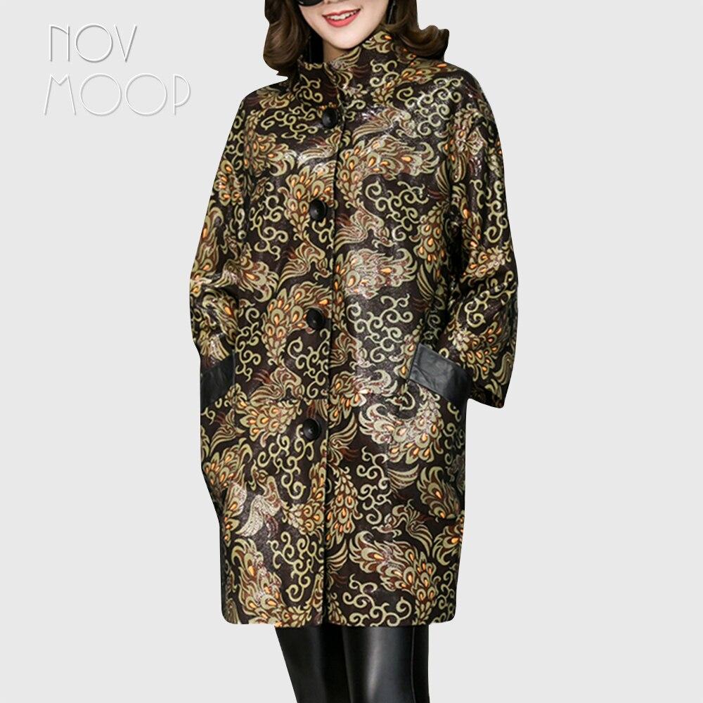Mode imprimé noir véritable fossé en cuir manteau drop-épaule réel en cuir d'agneau manteau outwear plus la taille casacos LT1873