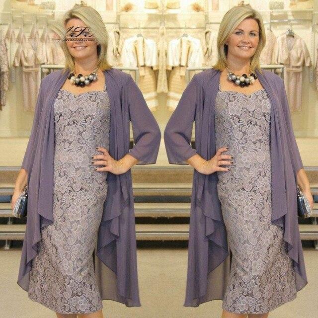 Graceful Tee Länge Mutter der Braut Kleider mit Jacke Spitze ...