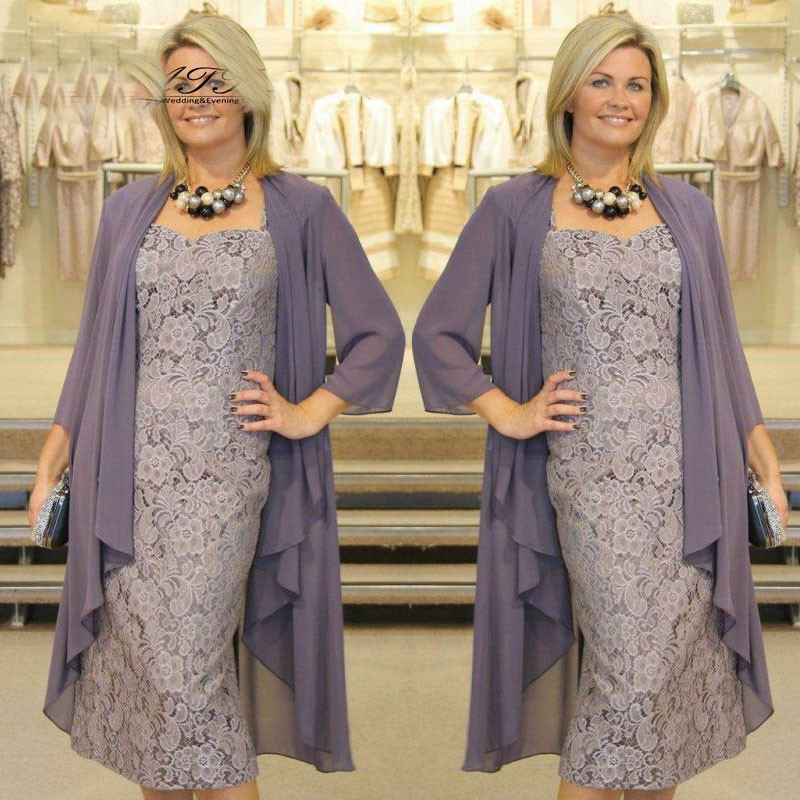 8a5fbc211b0e7 Graceful Tea Length Mother Of the Bride Dresses with Jacket Lace ...