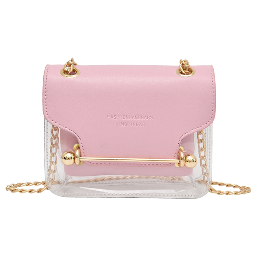 Luxury Clutch Strap Small Female Bags Lady Transparent Square PVC Bag Shoulder Bag Messenger Bag + Hand Wallet Shopping Handbag
