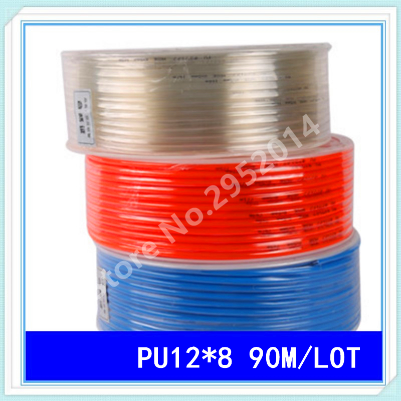 PU12*8 90M/LOT Pneumatic tube pneumatic hose for air pressure hose pipe 12MM OD 8MM ID PU12 kit engineering pneumatic air driven mixer motor 0 6hp 1400rpm 16mm od shaft