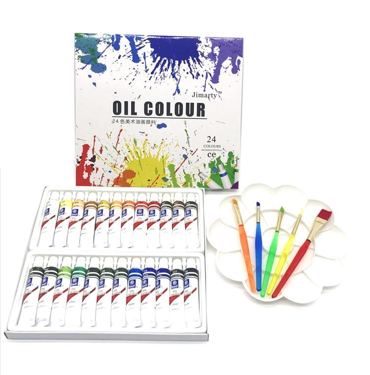 Profesional Tubo de Aceite de arte Pinturas de artistas Lienzo materiales de Arte Pigmento Dibujo 12 ML 24 Colores (sin cepillo de pintura y la paleta)
