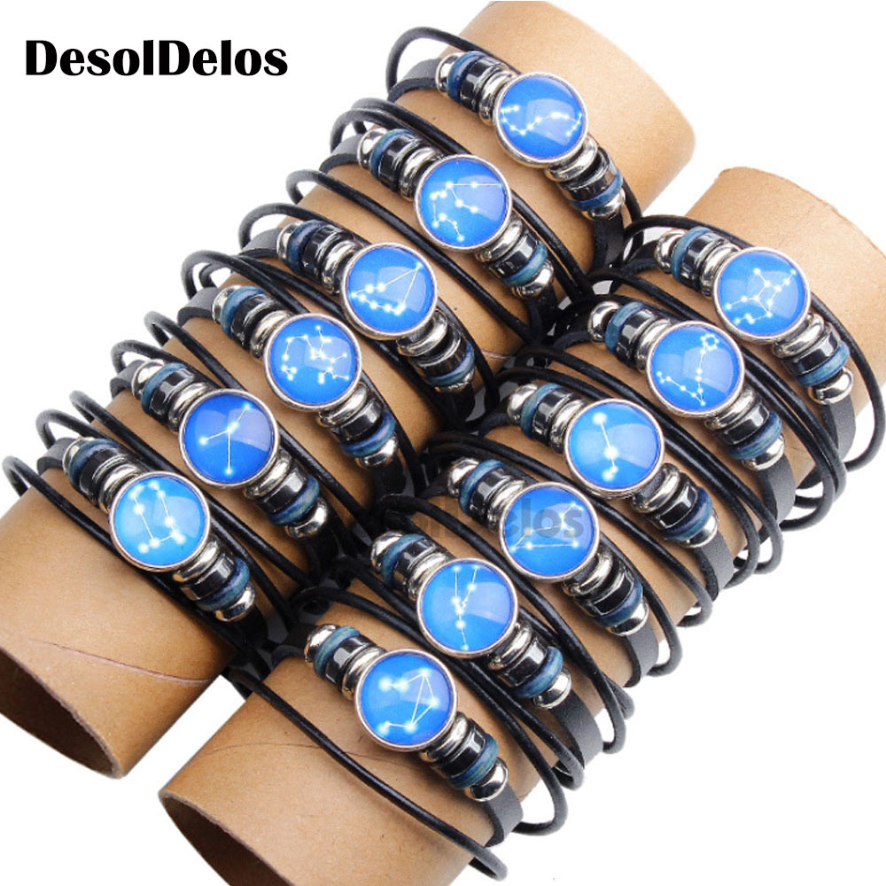 12pcs/set 12 Constellations Multilayer Leather Bracelet Men Women Horoscope Couple Accessories Birthday Gift 2019