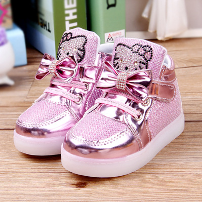 79e1609d64b6 kids trainers girls crystal Hello Kitty cartoon toddler bling shoes with light  children shoes girl Butterfly knot sneaker shoes-in Sneakers from Mother ...