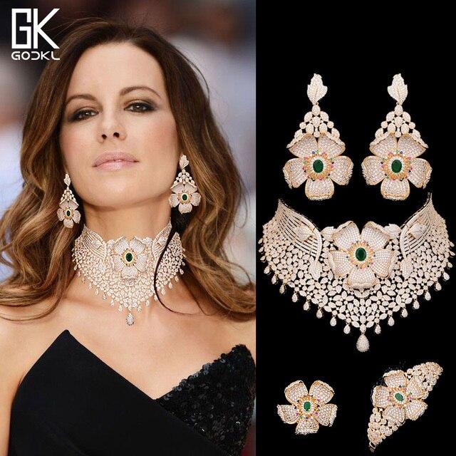 GODKI Luxus Cubic Zirkon Nigerian Schmuck sets Für Frauen hochzeit Indische Halskette Ohrringe sets Armreif Ring parure bijoux femme