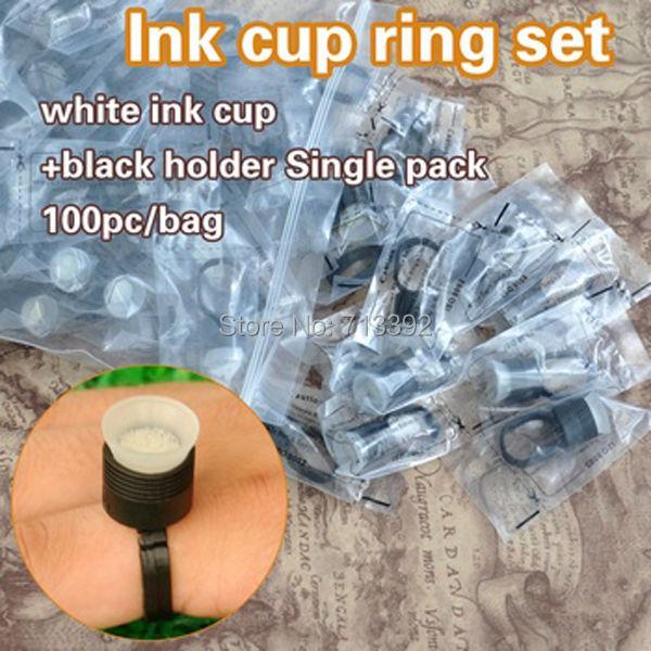 Egyetlen csomag tintagyűrűtartó és szivacsos csészék tartós - Tetoválás és testmûvészet